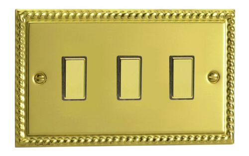 Varilight JGES003 Georgian Polished Brass 3 Gang Touch Dimming Slave (use with V-Pro Master)